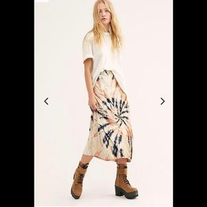 Free People stretch tie dye velvet midi skirt